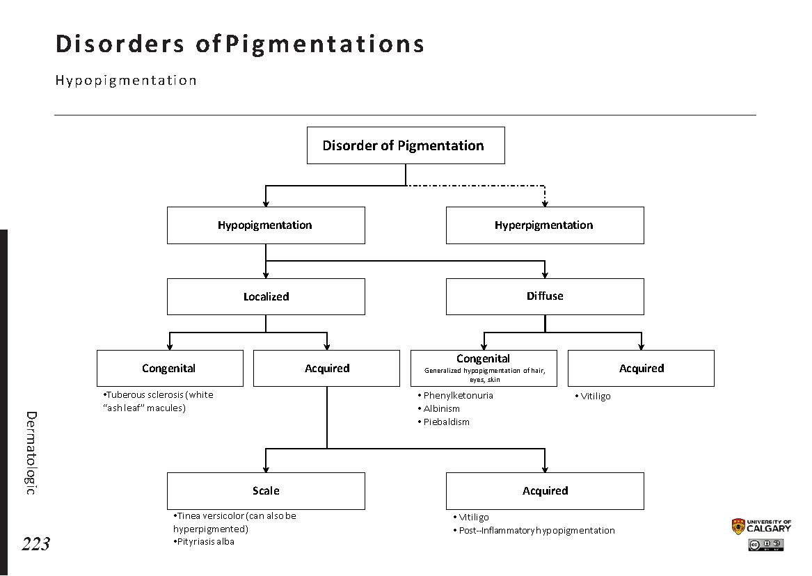 DISORDERS OF PIGMENTATION: Hypopigmentation Scheme